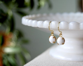 sweet and simple- vintage glass dangle earrings- milk white