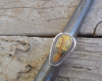 ON SALE Bumblebee jasper ring handmade in sterling silver 925