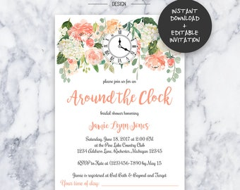Around the clock etsy around the clock bridal shower invitation instant download editable pdf do it yourself filmwisefo Images