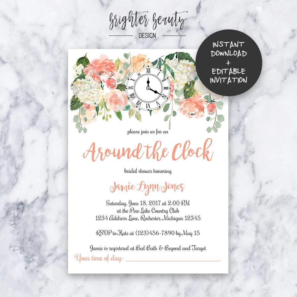 Around the Clock Bridal Shower Invitation   INSTANT DOWNLOAD ...