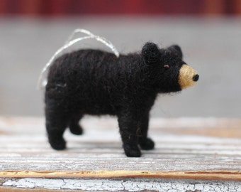 Small Black Bear Cub - Needle Felted Christmas Ornament