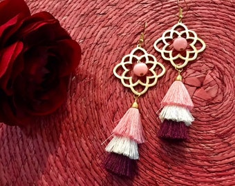 Rawaya gold plated earrings with tassel