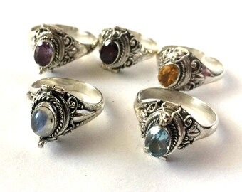 Citrine Poison Ring Bali Sterling Silver Locket Ring  AR71