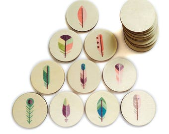 Feathers - Memory Match | my little set | wooden game | story stones | memory match |