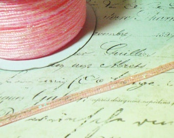 """Pretty Pink Pull String Organza Ribbon with Iridescent Center   Approx 1/8"""" Wide"""