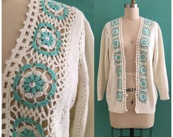 vintage 60's cream knit cardigan // vintage jeweled sweater