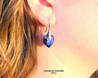 Gorgeous Deep Purple and Blue Heart Earrings