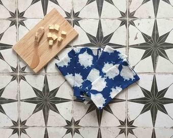 NAPKINS blue cloth napkins block print napkin indigo cotton table linen home kitchen dining table organic cotton napkin Set of 4 - Filament