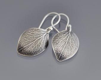 Hydrangea Petal Earrings - Sterling Silver Dangle Earrings - Nature Jewelry