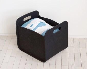 Black  Storage Bin / Modern Storage Basket / Felt