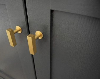 "Brass Cabinet Knob ""European"" T-Knob Drawer Pull. Cabinet Knob"