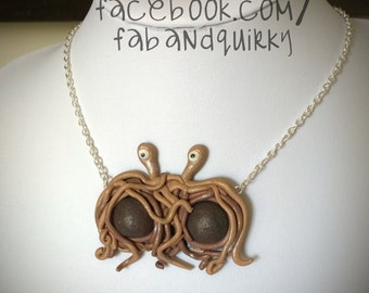 The Flying Spaghetti Monster Polymer Clay Statement Necklace