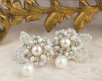 "Ivory Pearl Wedding Stud Earrings / Silver Crystal Bridal Posts / Couture Lace ""Sonnet"""