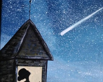 Shooting star acrylic original art work 11x14