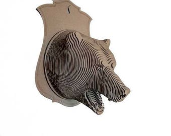 Cardboard Bear trophy head