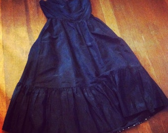 Black strapless 50's dress with Polka Dot back