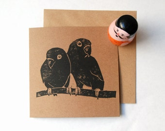 Lino printed valentine's card. Lovebirds valentine's card. Hand printed card.