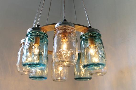 Mason jar chandelier beach house mason jar lighting fixture for Beach cottage lighting fixtures