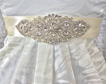 Bridal Sash Ivory, Wedding Sash Ivory, Ivory Wedding Sash, Rhinestone Wedding Belt, Wedding Dress Sash, Bridal Sash, Ivory Sash, Bridal Belt