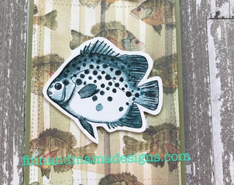 Fish, Fishing, Vintage, Olive, Twine, Father's Day, Happy, Father's Day, Masculine, Men, Greeting Card, Stamped, Handmade