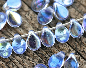 Blue PiP beads, AB finish, Sapphire Blue czech glass flat drops, top drilled, Preciosa, blue teardrops,  5x7mm - 40Pc - 2829