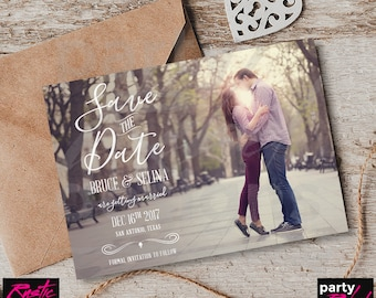 Rustic Save The Date, Photo Save The Date, Printable Save The Date, Swirl Save The Date, Country Save The Date, STD77