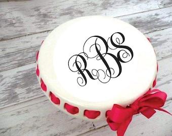 Large Monogrammed Round Cake Plate ... & Ribbon cake stand   Etsy