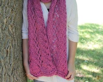 Knitting Pattern - Lace Scarf Knitting Pattern - Knit Chunky Scarf Pattern - Knitting Patterns for Women - Toddler, Child, Adult Sizes