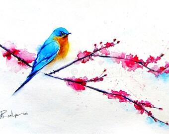 Bird Watercolor Painting, Bird Art Print, Bird Artwork, Bird Lover Gift, Bird Prints, Bird Painting, Bird Water Color Painting - Bluebird