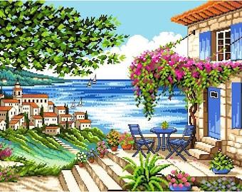 Afternoon Teatime View -Cross Stitch PDF Pattern
