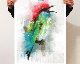 """Poster 50 x 70: digital painting reproduction """"Bird"""" on semi matte paper 150 gr."""