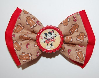 Christmas Mickey and Minnie Inspired Bow