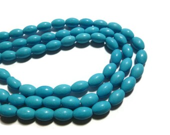 Blue Magnesite - Rice or Oval Bead - 10mm x 6mm - Full Strand - 42 beads - Sky Blue