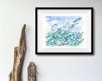 Fish are Jumping art print, abstract fish watercolor print, nautical, blue turquoise, marine, coastal art, fathers day, modern art, fish art