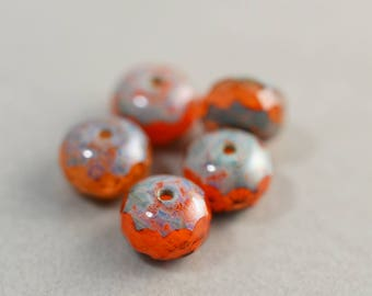 Orange Aqua Beads, Czech Glass, 8mm Picasso Beads, Five