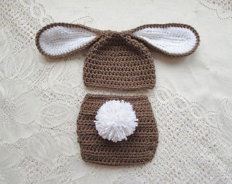 READY TO SHIP - 0 to 3 Month Size - Medium Brown and White Easter Bunny Crochet Hat and Diaper Cover - Photo Prop