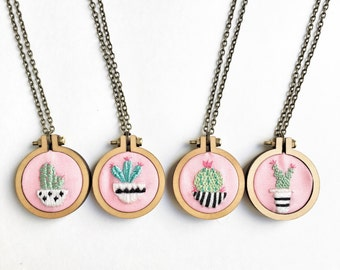 Green and pink Cactus Plants on Pink jewelry cactus embroidery embroidered jewelry cactus art Gifts under 50 succulent necklace cute pendant
