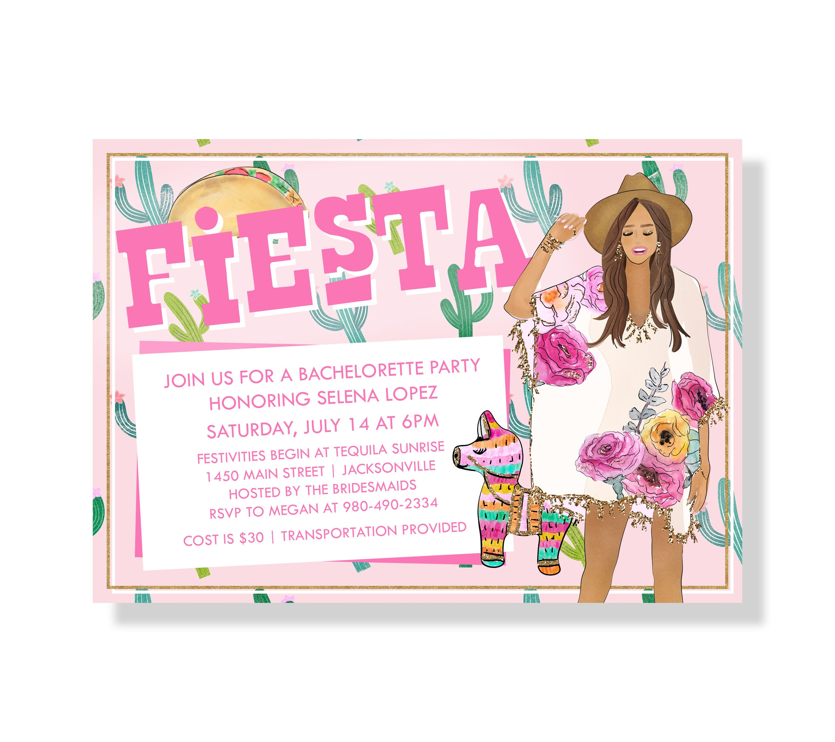 FIESTA Bachelorette Party Invitation Cactus Fiesta