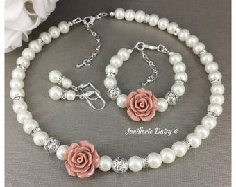 Flower Girl Necklace Flower Girl Jewelry Flower Girl Gift Flower Girl Bracelet Taupe Wedding Jewelry Gift Idea