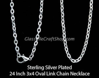 5 Sterling Silver Necklaces, 24 Inch, 3x4 Oval Links, Sterling Silver Plated Rolo Chain Necklace (SSPRCN24)