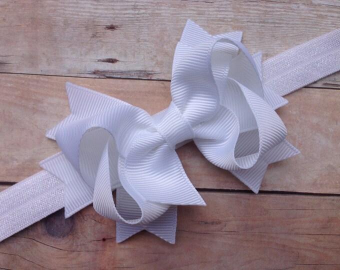 White baby headband - baby headband, baby headbands, baby headband bows, baby girl headbands, newborn headbands, baby bows, hair bows, bows