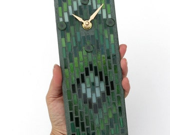 Small Green Wall Clock, Handcrafted Glass Mosaic, Bargello Design, Little Clock for Kitchen, Office or Man Cave