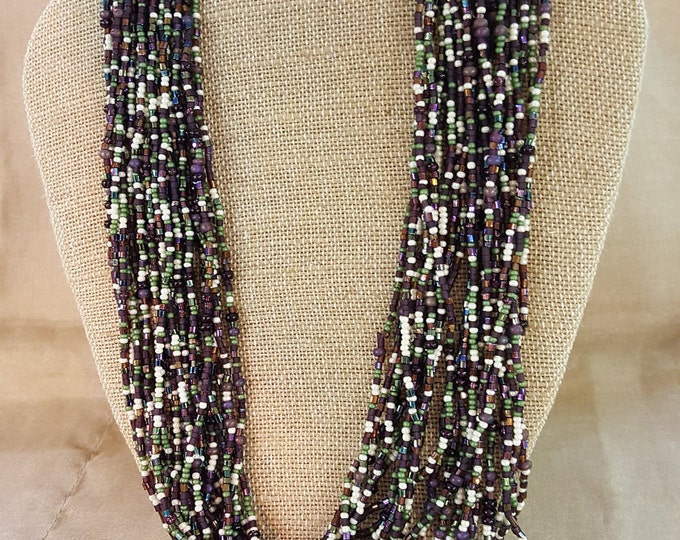"On Sale - Long Flapper Multi Strand Seed Bead Erwin Pearl Necklace 46"" Summer Runway"