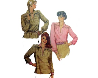 Women's Long Sleeve Pullover Top Sewing Pattern Misses Size Medium 14-16 Uncut Vintage McCall's 7404