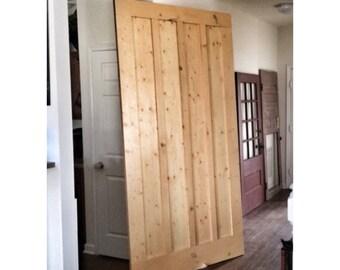 Custom Made Sliding Barn Door - Board u0026 Batten Striped - Honeytone  sc 1 st  Etsy & Board and Batten Glass Window Sliding Barn Door by Rustic Luxe