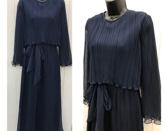 Vintage 70s 1970s Formal Dress MISS ELLIETTE Navy Pleated Long Maxi Bridesmaid Wedding Party Prom Dress Sz 8/10 NEW