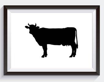 Cow Silhouette, Digital Print, Black and White Art, Gallery Wall Decor, Kitchen Decor, Southern Decor, Cow Print, Rustic Farmhouse Art
