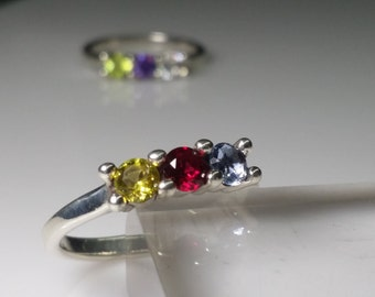 Mother's ring with 3ea 4mm lab created birthstones. 2,3,4 and 5 stone rings are available in other listings.