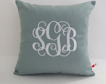 Pillow Cover | Vine Monogram Pillow | Monogrammed Bed Sham | Embroidered Pillow | Initial Pillow | Personalized Pillow | Wedding Gift | Dorm