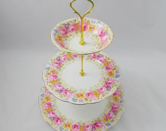 "Three Tier Cake Stand Made from Royal Albert ""Serena"" Dishes, Vintage Bone China, Pink Roses"